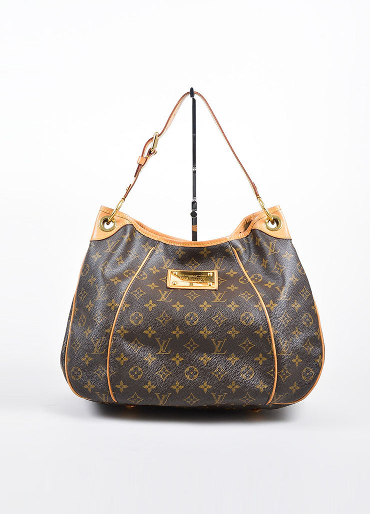 "Brown and Tan Louis Vuitton Coated Canvas and Leather Monogram ""Galliera PM"" Hobo Bag Frontview"
