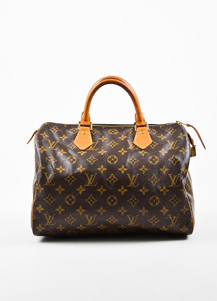 "Louis Vuitton Brown Tan Coated Canvas and Leather Monogram ""Speedy 30"" Bag Frontview"