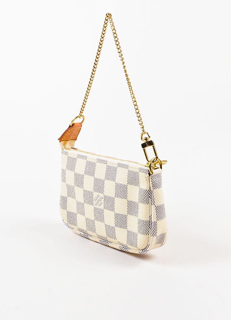 "Louis Vuitton Cream Navy ""Damier Azur"" Coated Canvas ""Mini Pochette"" Wristlet Sideview"