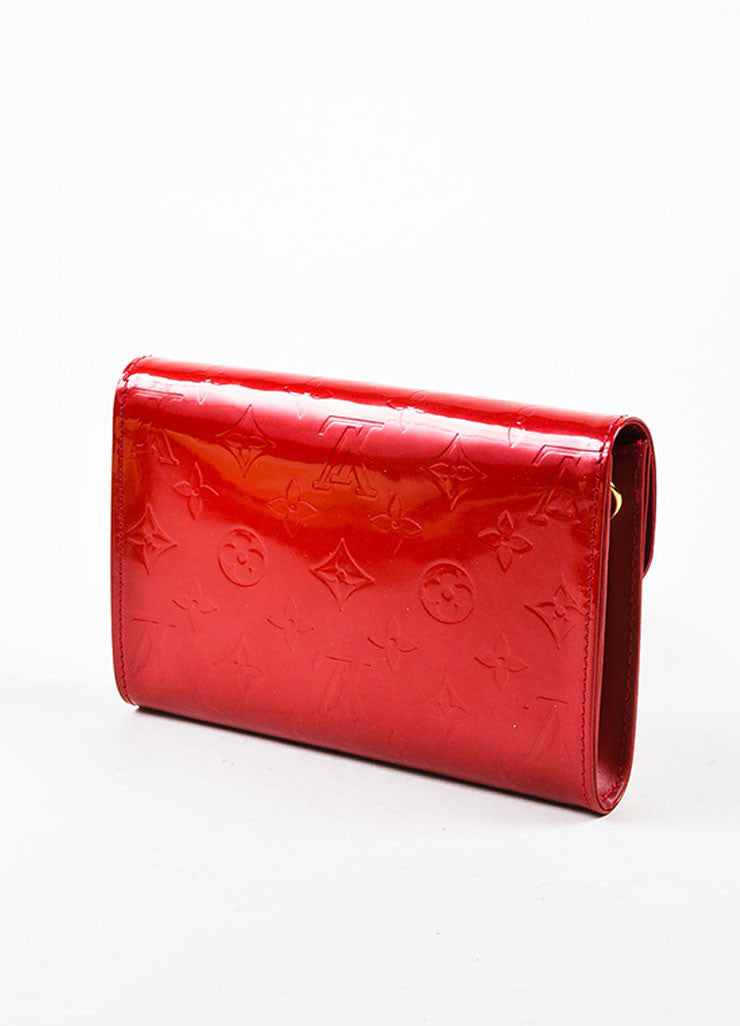 "Louis Vuitton Red Vernis Patent Leather Embossed Monogram ""Bel Air"" Chain Bag Sideview"