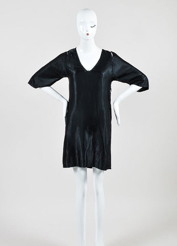 Black Maison Martin Margiela Satin Cut Out Shoulder Crop Sleeve Dress Frontview