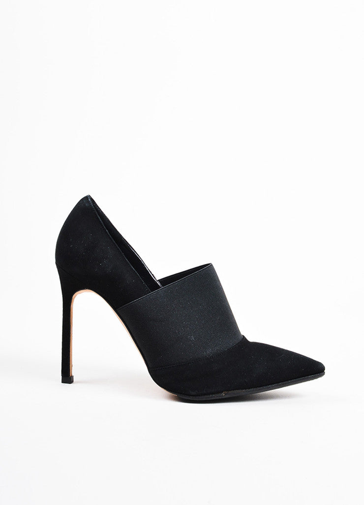 Manolo Blahnik Black Elastic Suede Pointed Toe Stiletto Heels Sideview