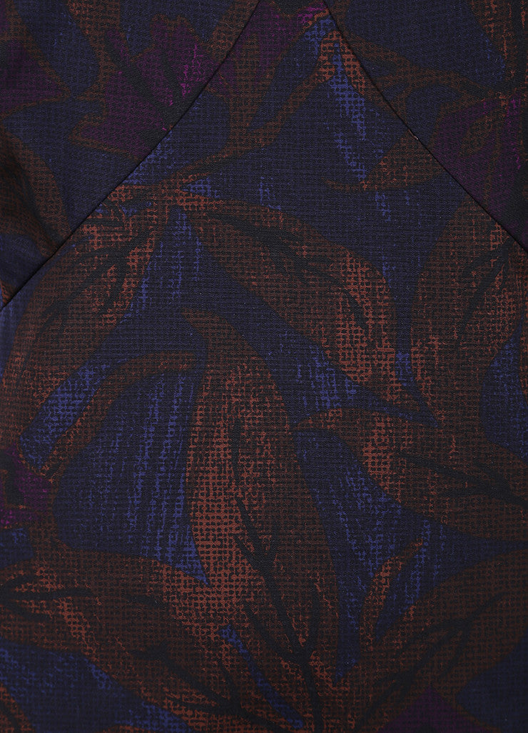 Marc Jacobs New With Tags Brown, Blue, and Purple Leaf Print Sleeveless Cotton Sheath Dress Detail