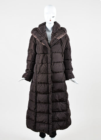Chocolate Brown Moncler Nylon Drawstring Shawl Full Length Puffer Coat  Frontview 2