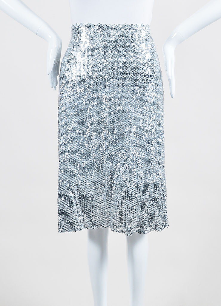 Silver Nina Ricci Silk and Shimmering Sequin A-Line Skirt Frontview