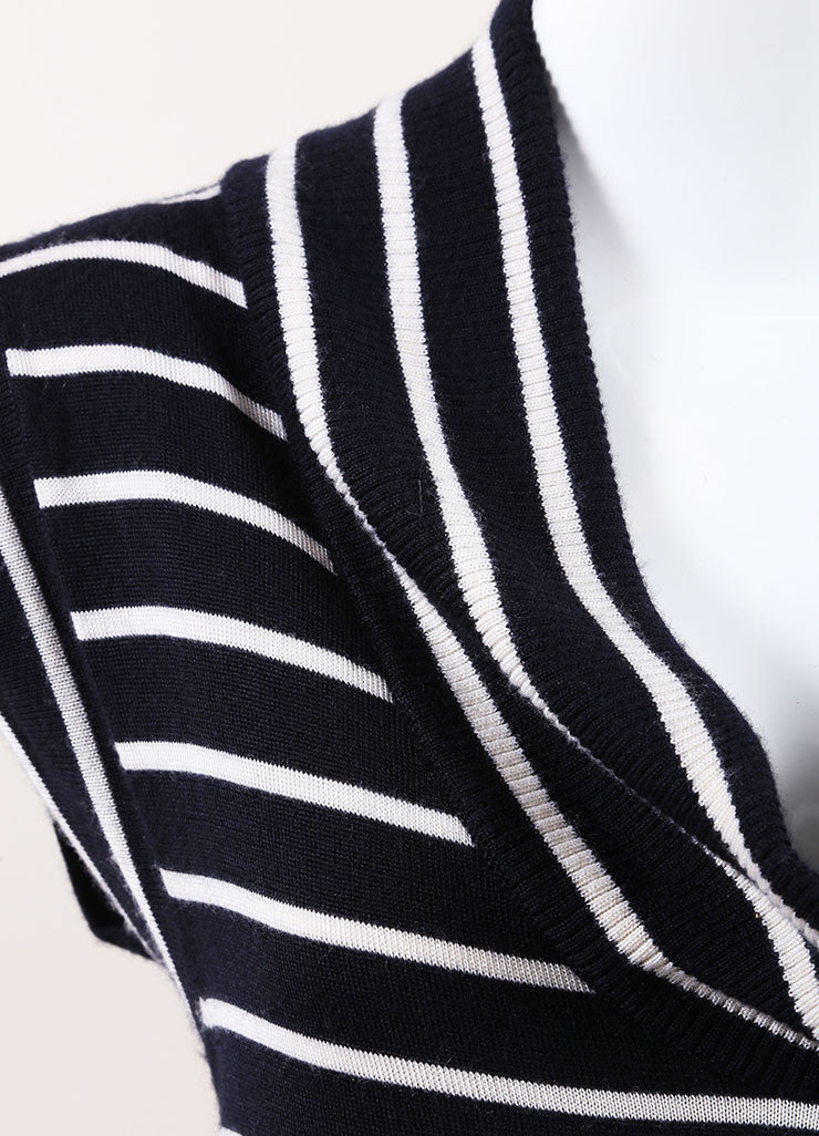 Oscar de la Renta New With Tags Navy and Cream Cashmere and Silk Stripe Sweater Dress Detail