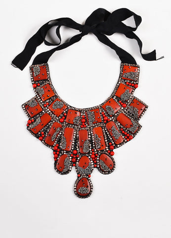 Oscar de la Renta Red and Black Beaded Rhinestone Mesh Covered Enamel Bib Necklace Frontview