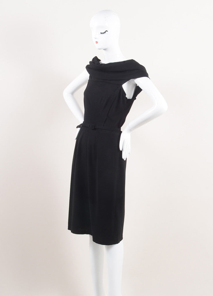 Oscar de la Renta New With Tags Black Wool Asymmetrical Draped Belted Dress Sideview