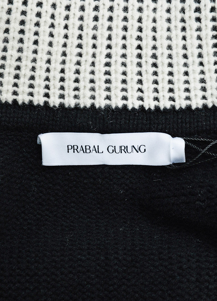 Prabal Gurung Black and Cream Cashmere Turtleneck Pullover Sweater Brand