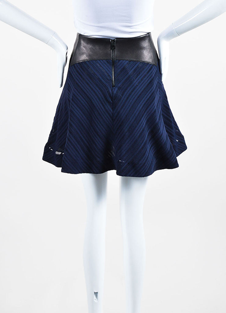 Black and Navy Blue Rag & Bone Leather Trim Eyelet Flared Skirt Backview