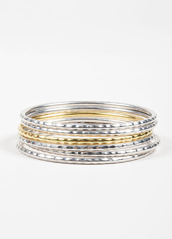 "Sterling Silver and 18K Gold Hammered Roberto Coin ""Martellato"" Bangle Bracelet Set Frontview"