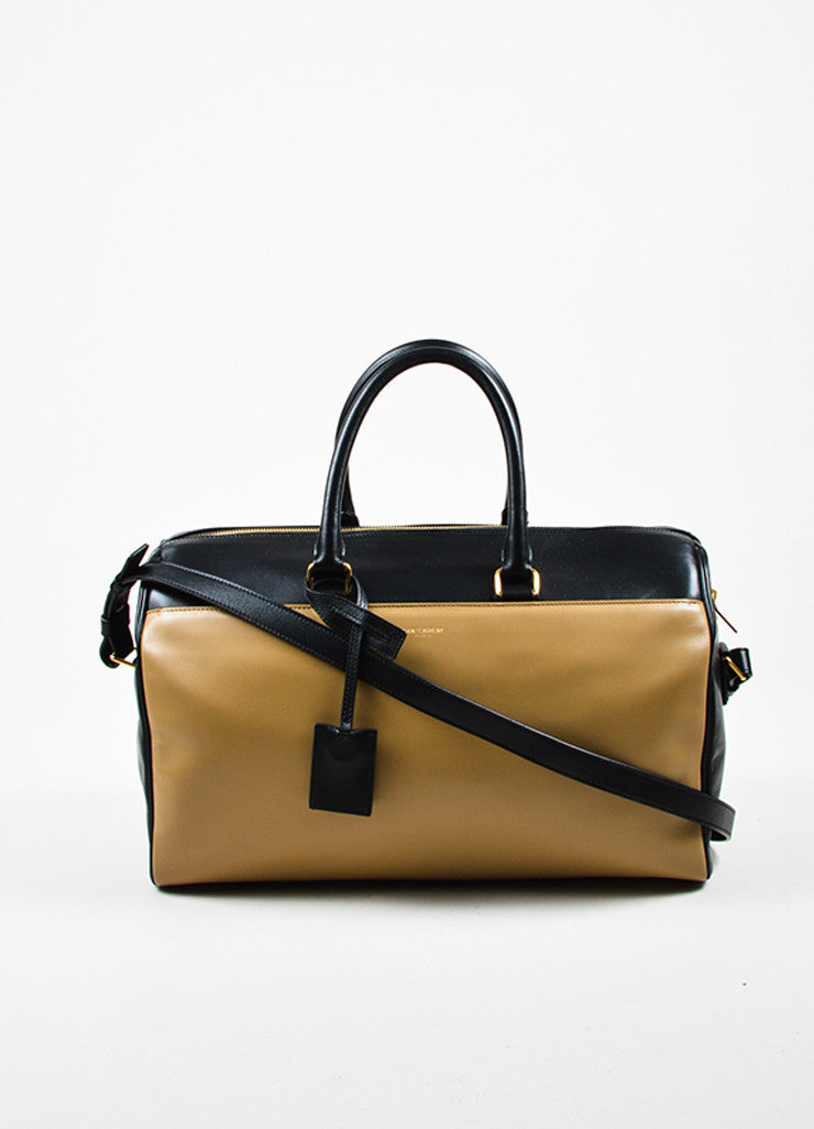 "Tan and Black Saint Laurent Leather Bicolor ""Classic Duffle 12"" Satchel Bag Frontview"