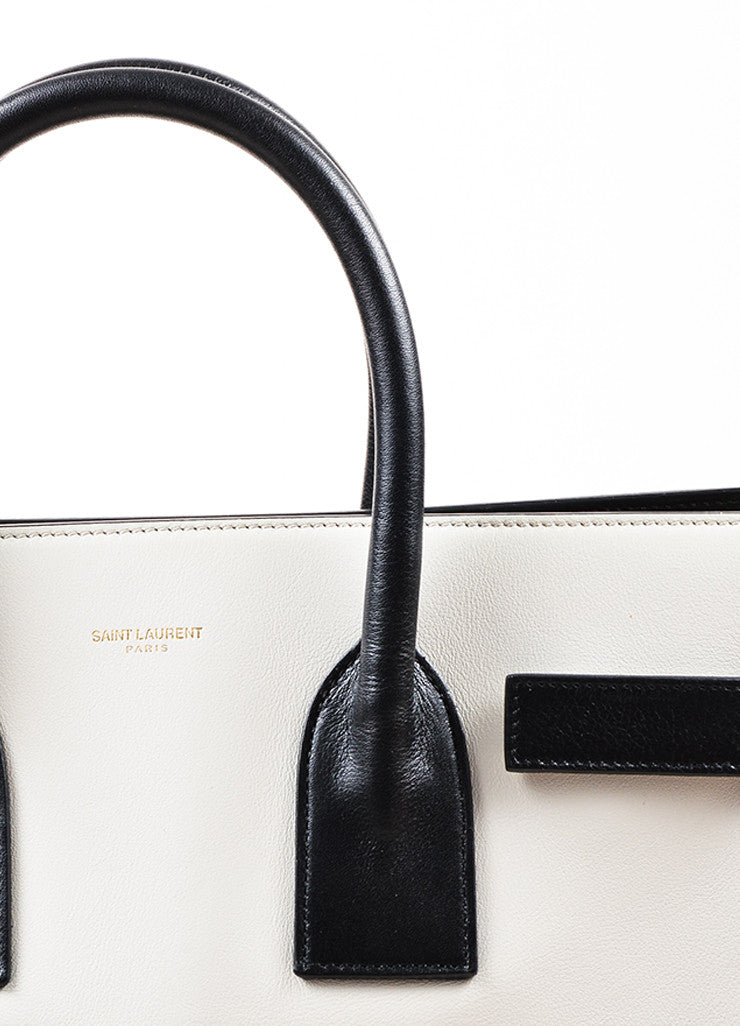 "¥éËSaint Laurent Light Grey and Black Leather Color Block ""Small Sac de Jour"" Tote Bag Detail 2"