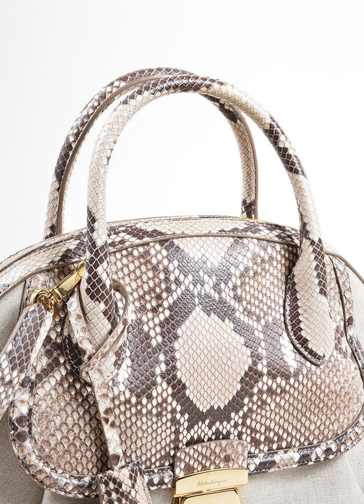 "Salvatore Ferragamo Taupe Canvas and Snakeskin ""Fiamma"" Shoulder Bag Detail 2"