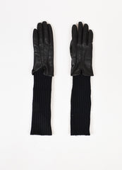 "Soia & Kyo Black Leather Wool Knit ""Carmel"" Gloves  Frontview"