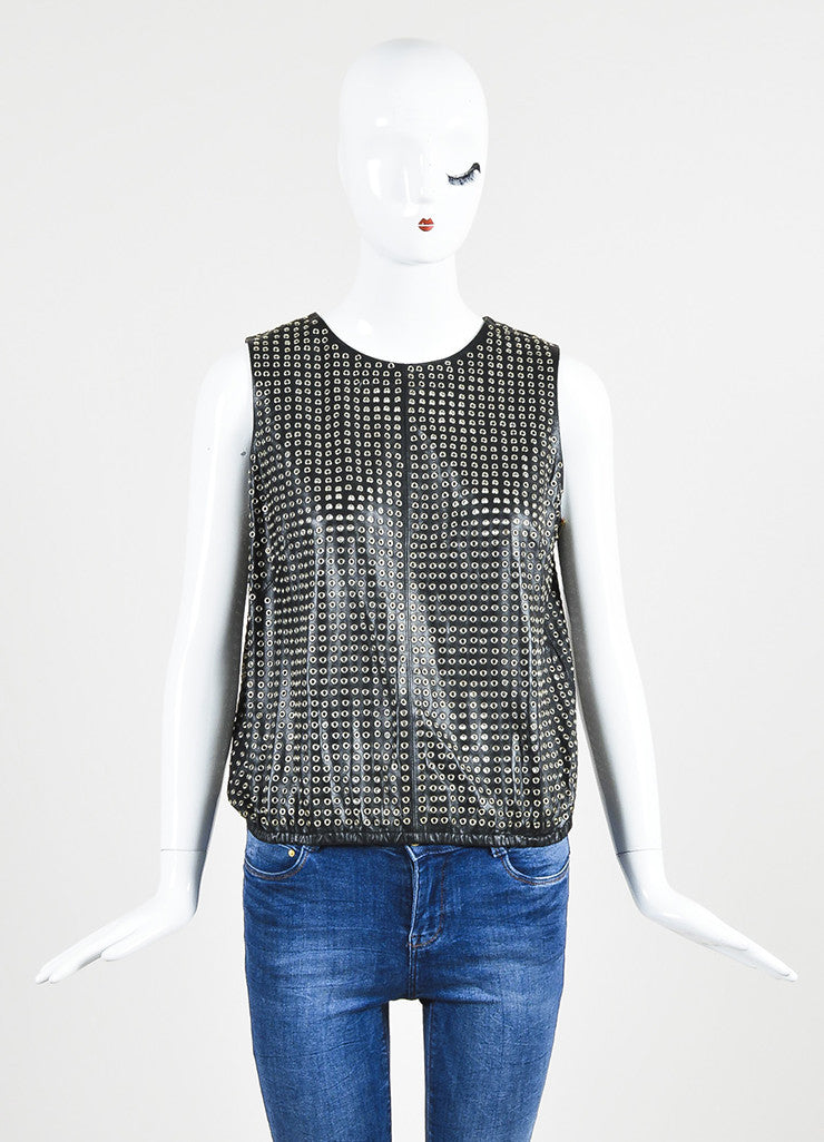 Tamara Mellon Black and Silver Toned Leather Eyelet Sleeveless Top Frontview