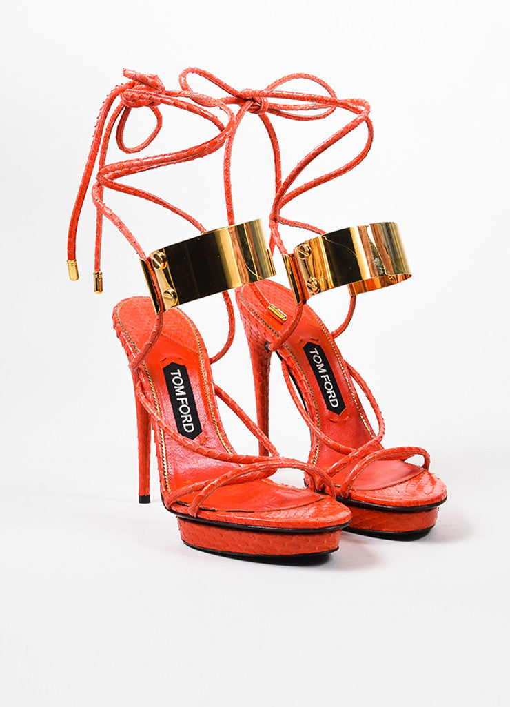 Tom Ford Red Snakeskin Ankle Wrap Platform Sandals Frontview