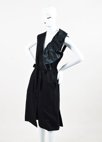 Tome Black Cotton Belted Sleeveless Ruffle Detail Button Up Dress Sideview