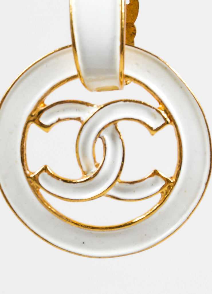 "Chanel White and Gold Toned Enamel Drop Circle ""CC"" Earrings Detail"