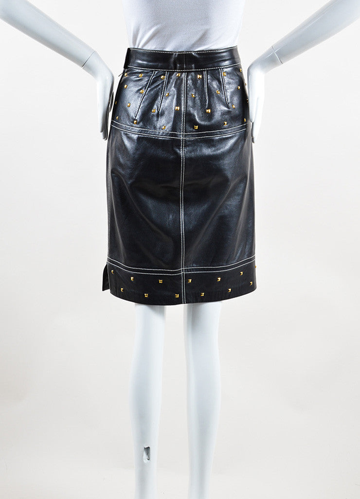 Escada Black and Gold Toned Leather Studded Embellished Pencil Skirt Backview
