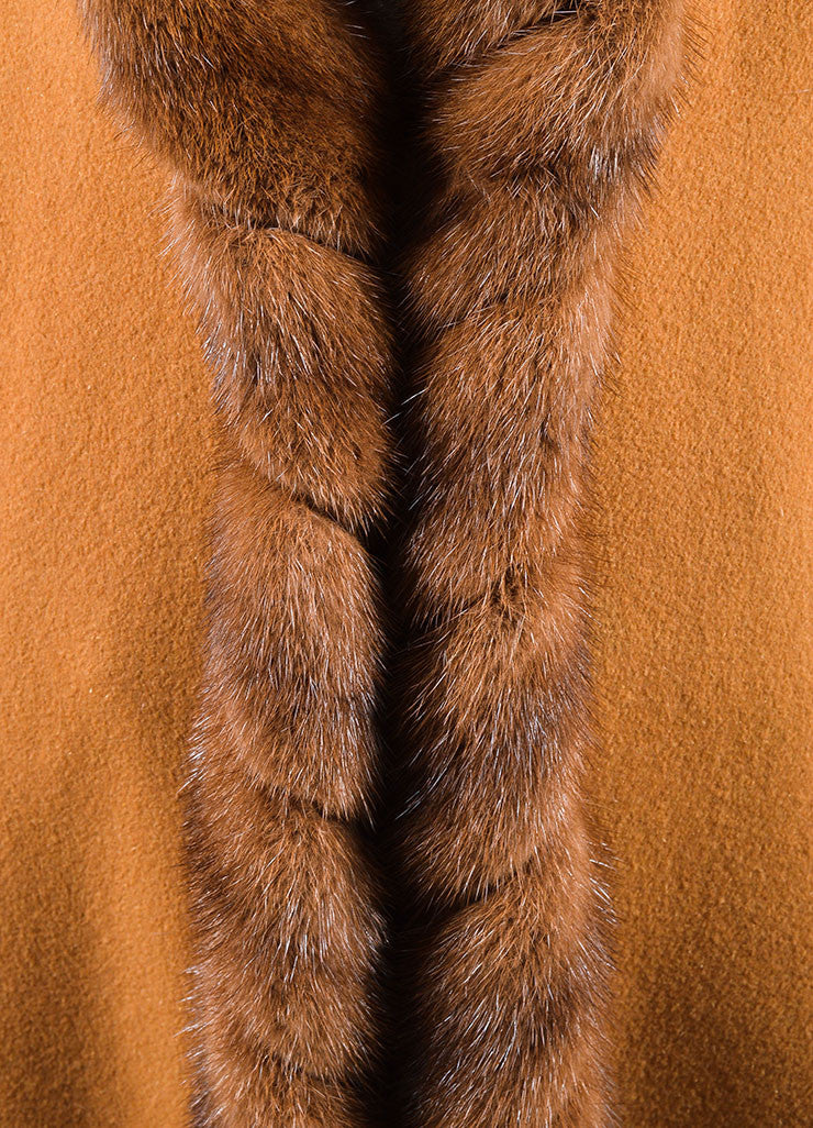 Revillon Camel Wool Fur Trim Collar Open Long Coat Detail