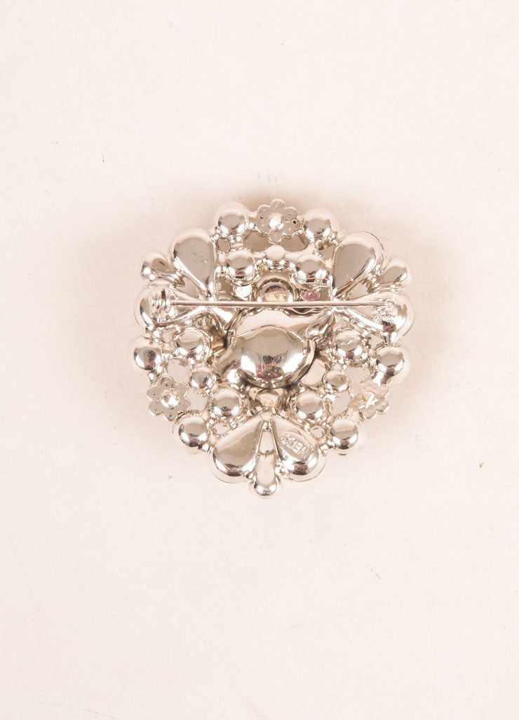 Weiss Grey and Silver Toned Rhinestone Embellished Floral Pin Brooch Backview