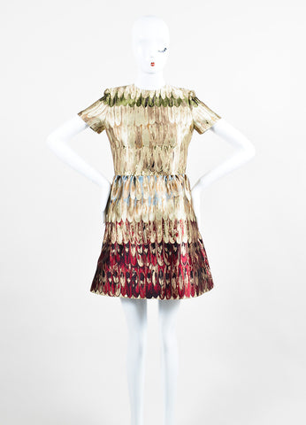 Multicolor Valentino Feather Print Jacquard Weave Short Sleeve Dress Frontview