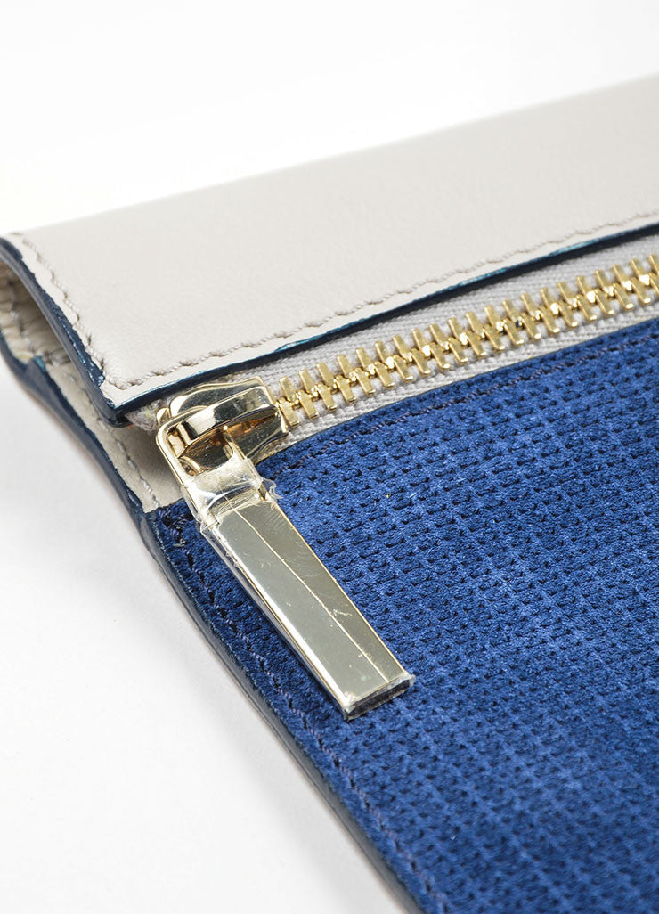 Grey and Blue Victoria Beckham Leather Zip Pouch Clutch Bag Detail 2