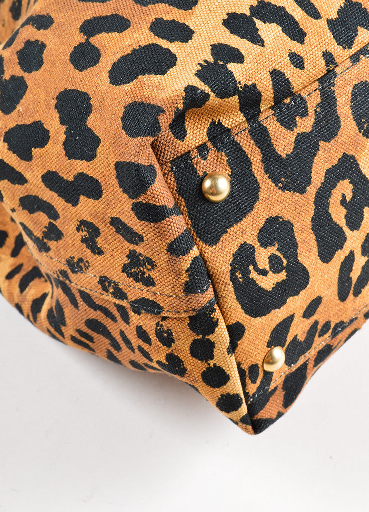 Yves Saint Laurent Black and Brown Leopard Print Canvas Tote Bag Detail