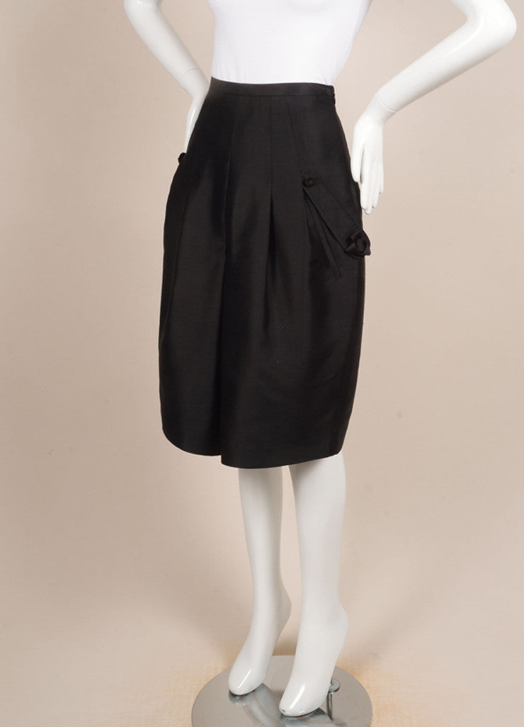 Y & Kei Black Silk Shantung Buckled Tab Pleated Skirt Sideview
