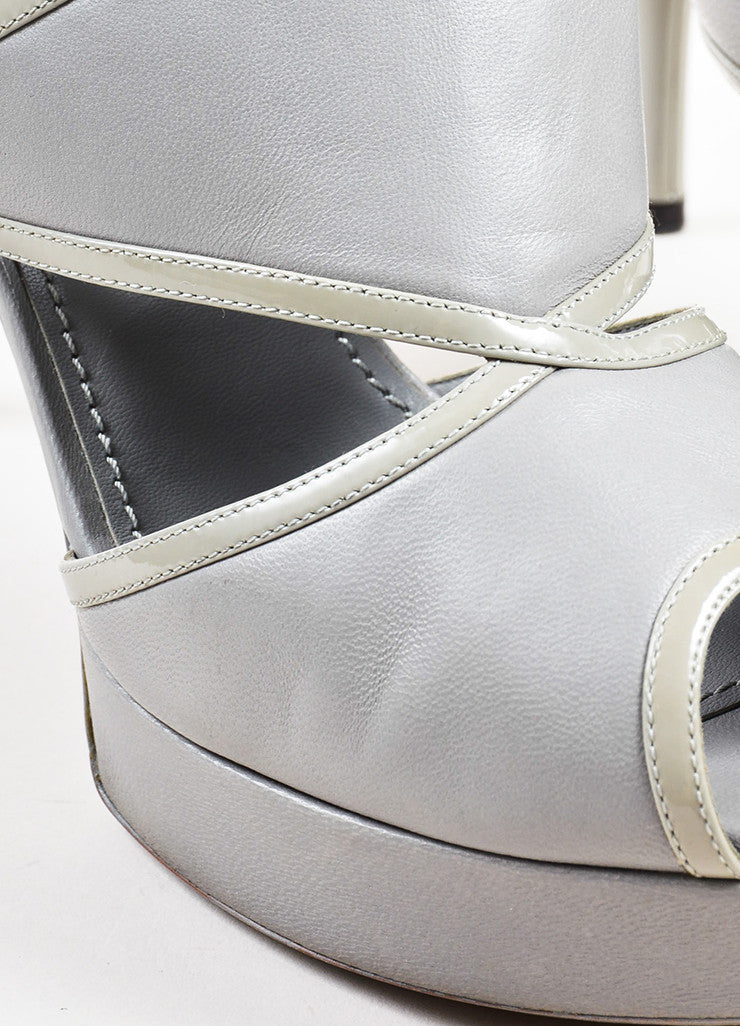 Yves Saint Laurent Grey Leather Platform Peep Toe Sandal Heels Detail