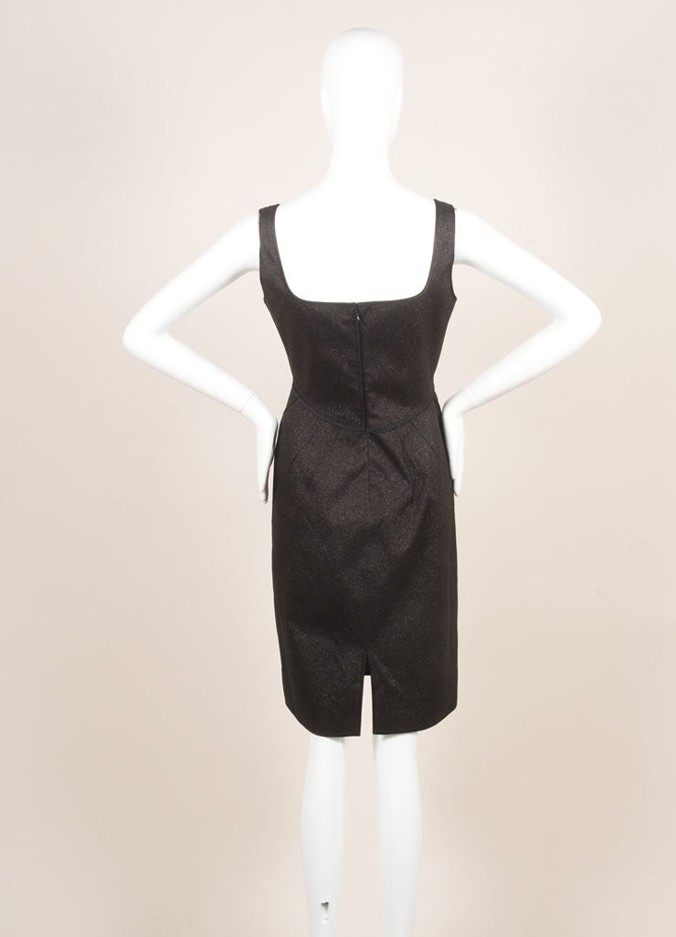 Zac Posen Black Metallic Sparkle Sleeveless Dress Backview