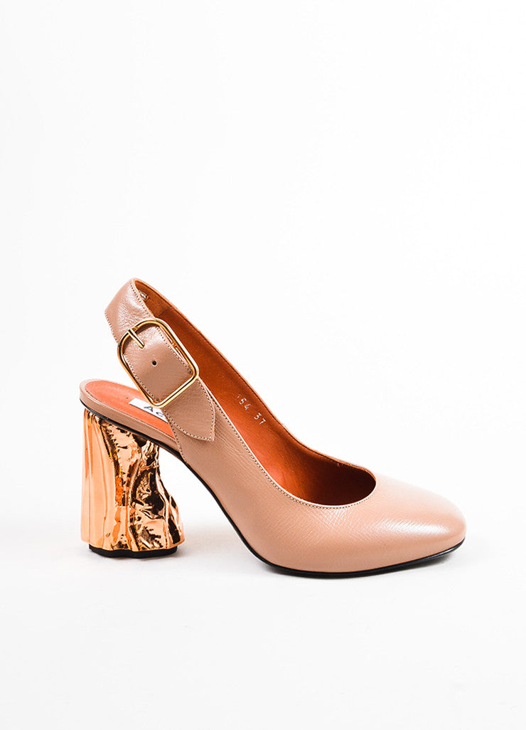 """Dusty Pink"" Acne Studios Leather Copper ""Odelia"" Slingback Pumps Side"