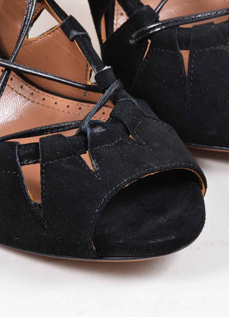 Black Alaia Suede Leather Lace Up Cut Out High Heel Pumps Detail