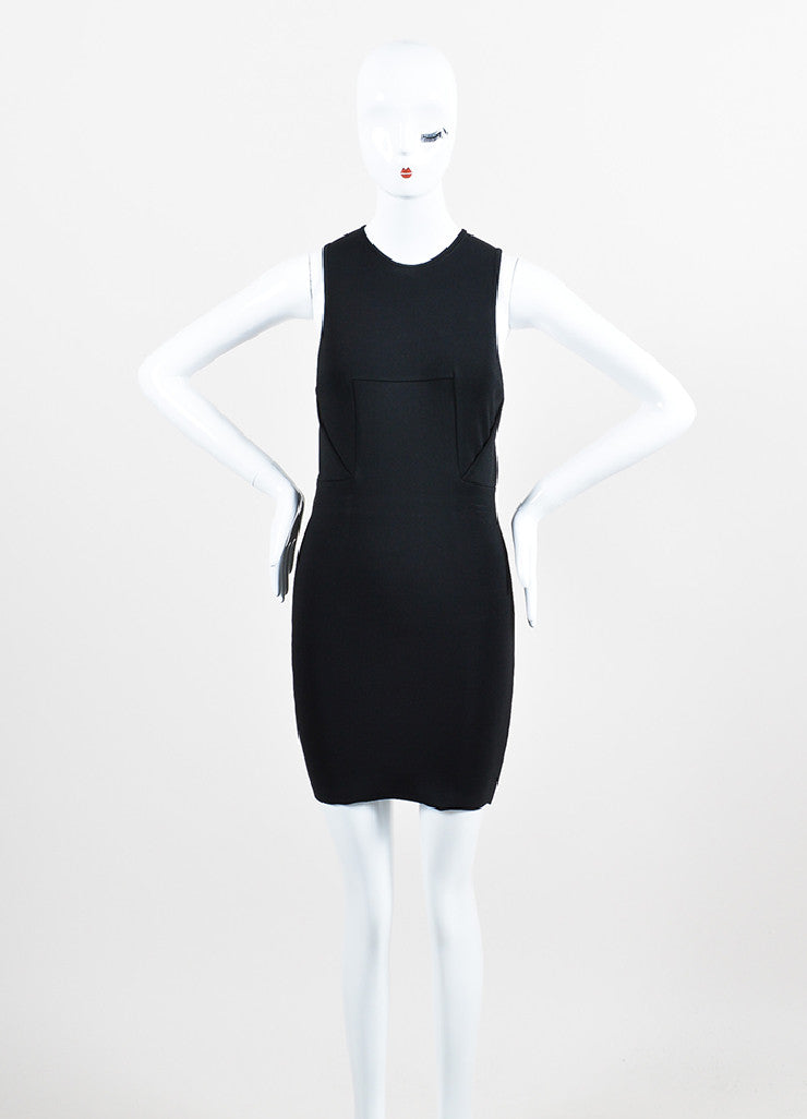 Alexander Wang Black Knit Overlay Bodice Sleeveless Bodycon Dress Frontview