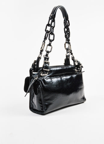 "Balenciaga Black and Turquoise Patent Leather Stingray Buckle ""Cherche Midi"" Bag Sideview"