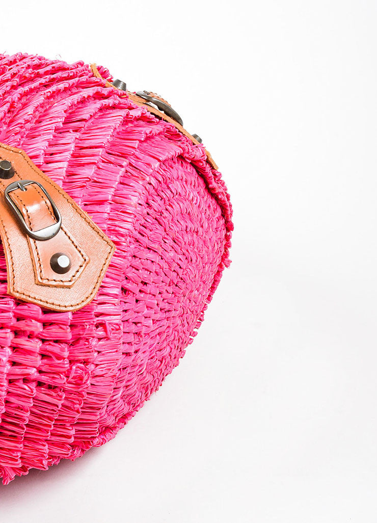 Hot Pink Balenciaga Raffia Whip Stitched Handle Tote Bag Bottom View