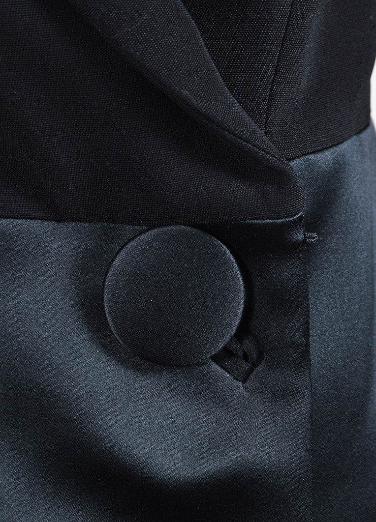 Black Balenciaga Satin and Wool Double Breasted Peplum Jacket Detail