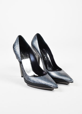 Barbara Bui Silver and Black Snake Embossed Pointed Toe Pumps