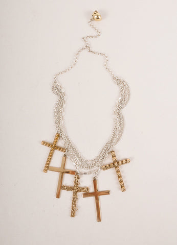 Bernard Delettrez New Silver Toned and Gold Toned Multi-Chain Cross Pendant Necklace Frontview