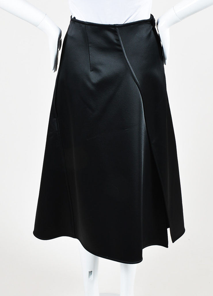 Celine Black Satin Wrap Tuxedo Skirt Backview