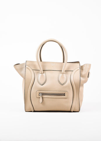 "Celine Taupe Grain Leather Top Handle ""Mini Luggage"" Tote Bag Frontview"