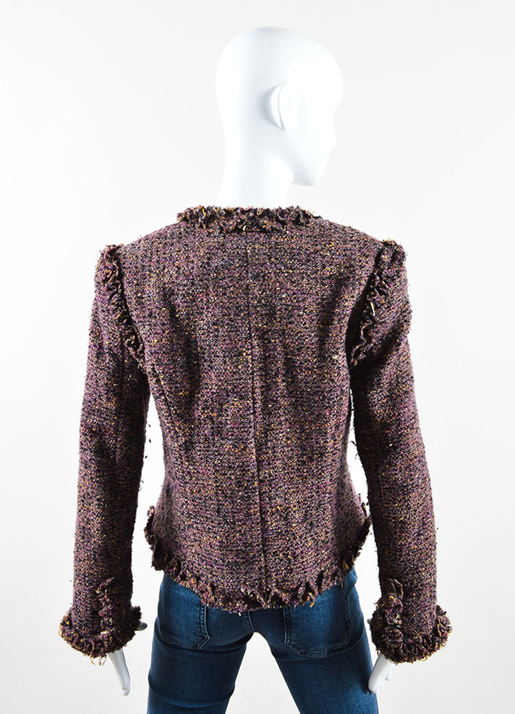 Chanel Dark Purple Wool and Mohair Tweed Ruffle Trim Jacket Backview