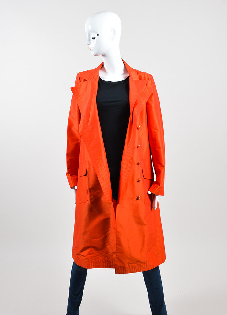 Tomato Red Chanel Silk Belted Trench Jacket Frontview