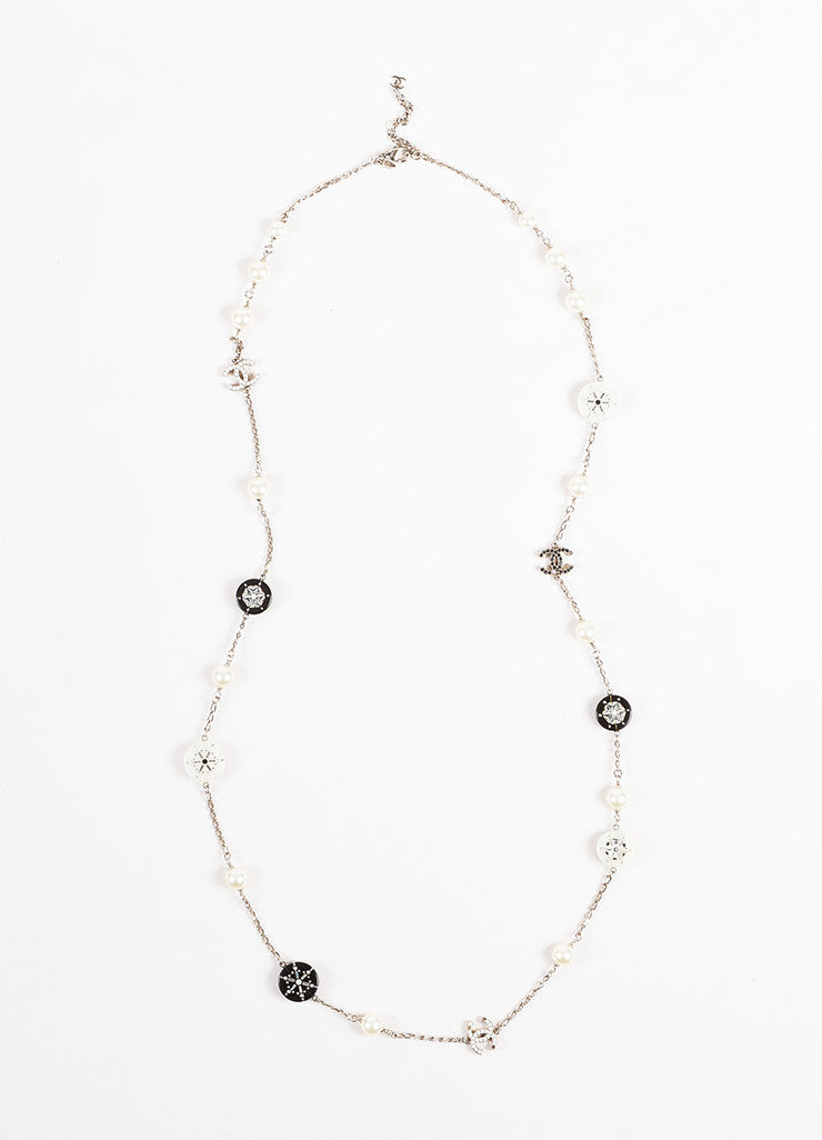 Chanel Silver Toned White Black Faux Pearl Crystal Station Strand Necklace Frontview