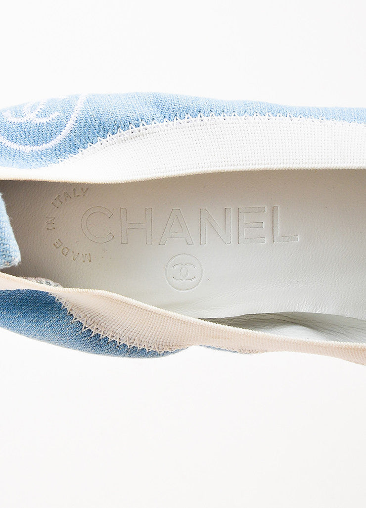 Chanel Light Blue and White Denim Patent Leather Cap Toe Block Heel Pumps Brand