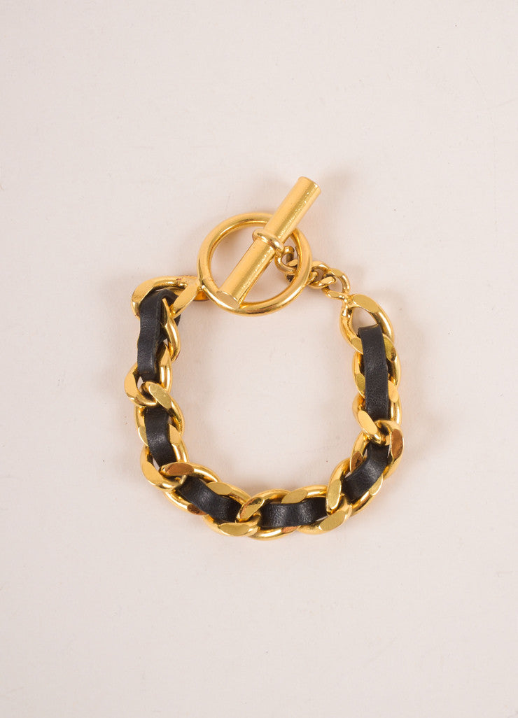 Chanel Black Leather and Gold Toned Chain Link Toggle Bracelet Frontview