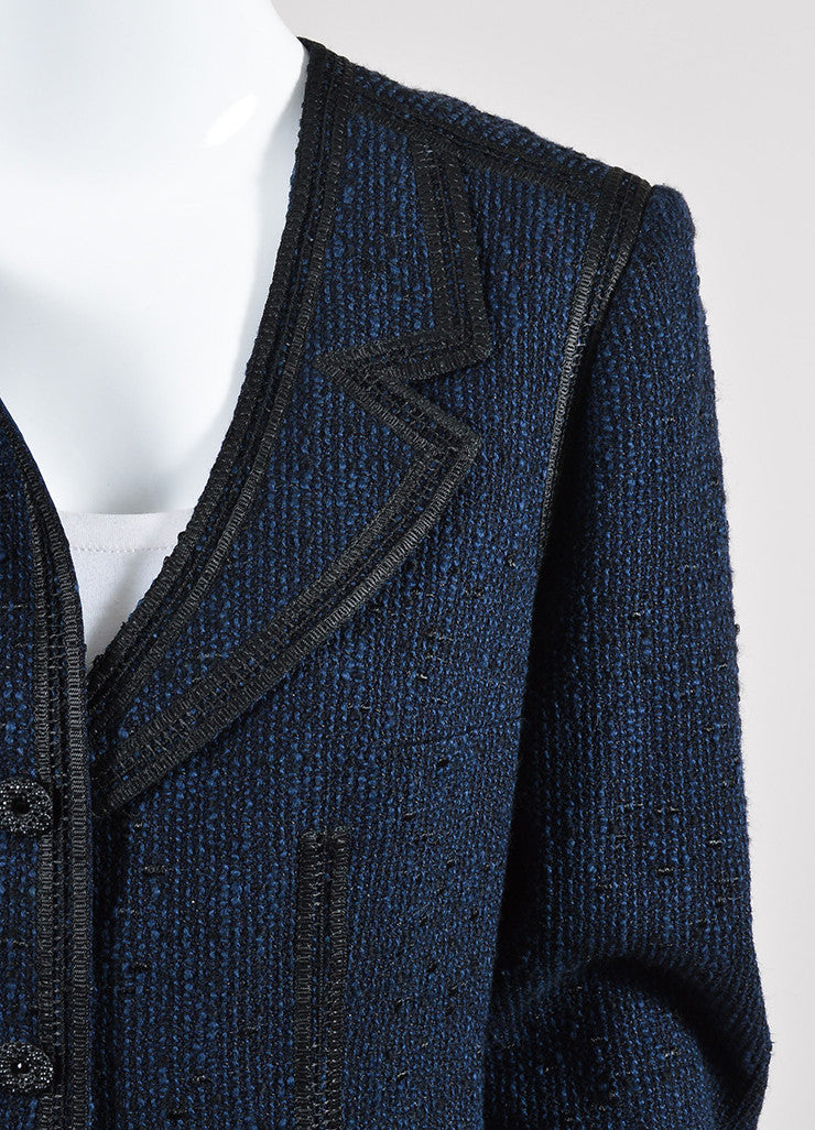 Navy Blue and Black Chanel Woven Knit Asymmetrical Lapel Jacket Detail
