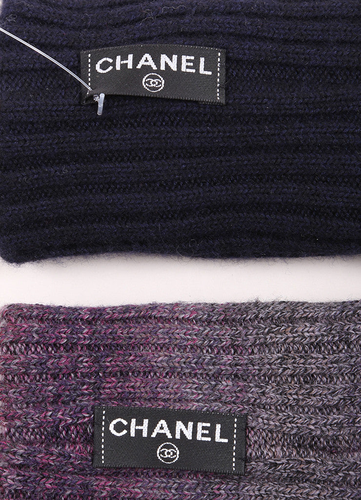 Chanel Purple and Navy Blue Ribbed Knit Cuffs Brand