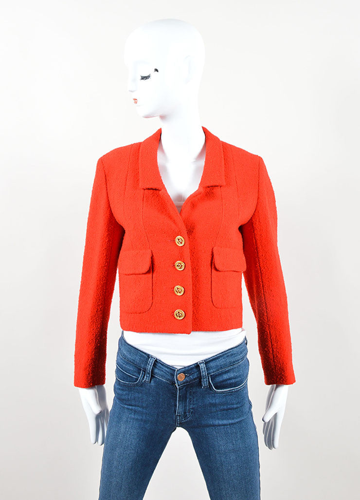"Chanel Red Boucle ""CC"" Logo Button Cropped Blazer Frontview"